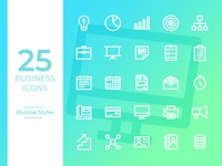 Business Icons Outline Styles