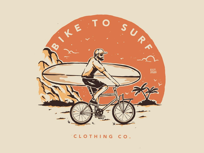 Bike to surf tshirt design cloth hand drawn vintage vibes logotype vector badge design illustration design typography