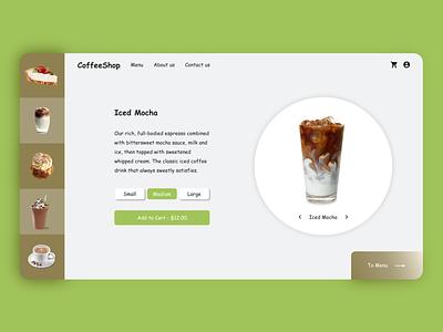 Coffee Shop Web Design simple design brown green ui design product page cafe coffee ui website design website web design webdesign web designer design