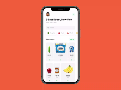 Grocery App shopping shop buy ux ui ios madebymad gif choice list checkout metaphor supplies goods cards delivery grocery app