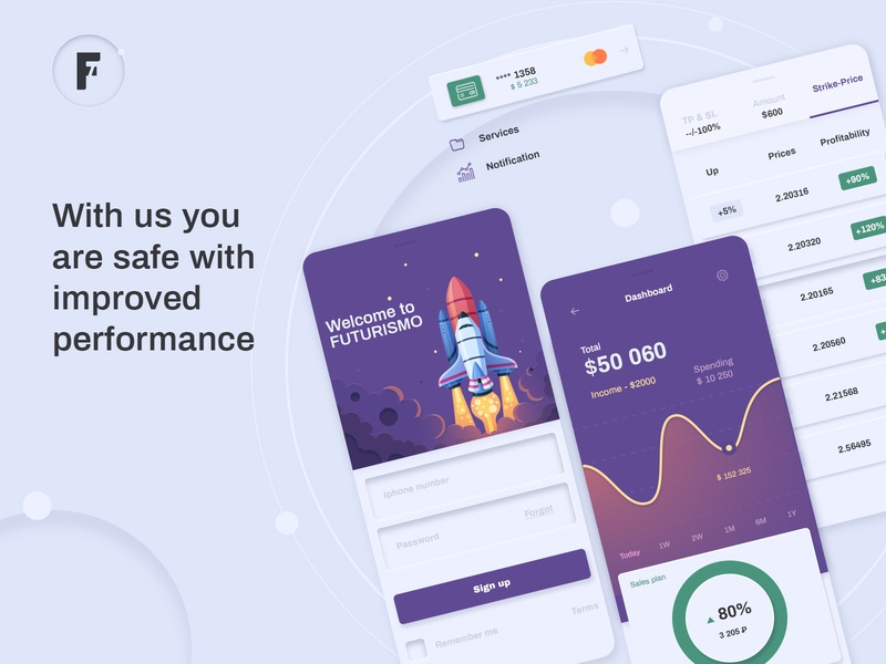 Mobile App - Futurismo digital wallet minimalism cryptocurrency trading banking uiux mobile uiux mobile mobile app design mobile application mobile app mobile ui ui app concept