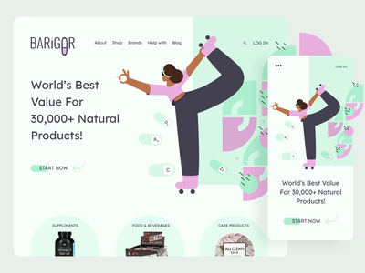 Barigor-Website website design ux ui flat healthy healthcare uidesign vitamins illustrator figma illustraion character adaptive design illustration service product interface website uiux