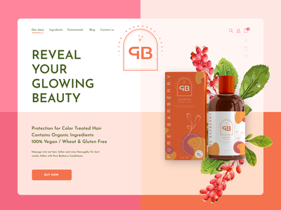 Pure Barberry -Organic Brand packaging design barberry beauty adobe photoshop figma illustrator web clean landing cosmetic logo cosmetics product cosmetics online store ui  ux packaging vector logo branding website design