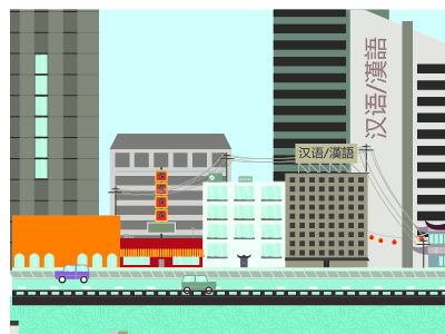 Wip, Asian city landscape illustration asian city