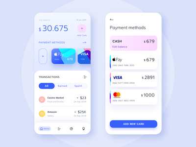 Banking App statistics card credit card mobile app design mobile app wallet money concept light blue web uiux clean flat ux minimal vector web interface web design ui