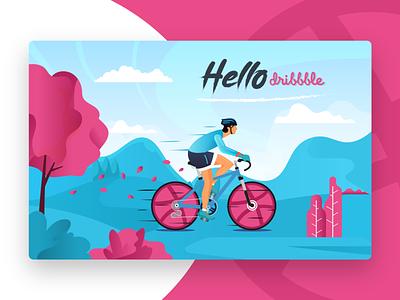 Hello Dribbble bike ride bike hello dribbble hello vector illustration ux ui