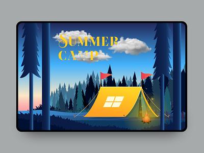 Summer Camp $ summer camp sunset kidscamp $ gradient dark landingpage holidays illustrator cc illustrator art illustration camp