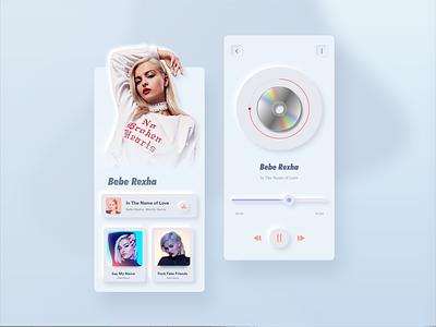 Skeuomorph Music App $ bebe rexha $ song xd design xd music app application design ux skeuomorph skeuomorph app