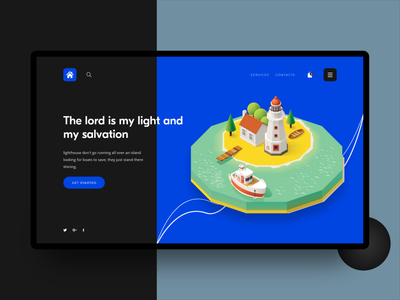 Lighthouse $ color isometric house lighting low-poly 3d ui  ux xd design illustrations illusration $