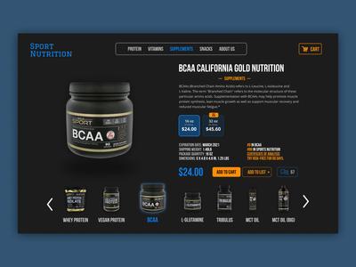 Sport nutrition E-commerce concept