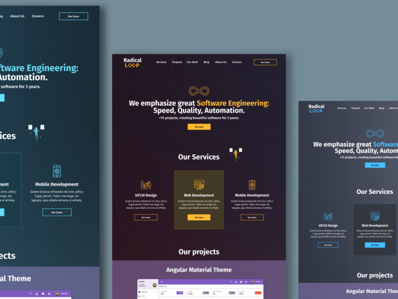 Radical loop concepts landing page ui design ux design landing beautiful web desgin web design website web user interface design web banner ui ux