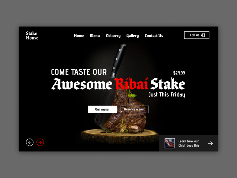 Ribai Stake Shot website design photography beautiful user interface web design food restaurant stakehouse gothic typography branding landing page webdesign design ui ux