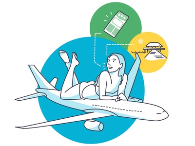 Skyscanner style illustration