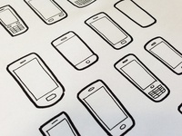 Mobile phones illustration icons
