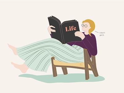 Life illustrator vector glasses book reading book life chair reading woman illustration