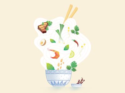 Noodle Bowl fish sauce pork belly cilantro shrimps noodle bowl asian food