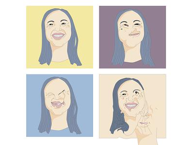 #1 illustrator colors palette asian girl vector illustration portrait illustration self portrait