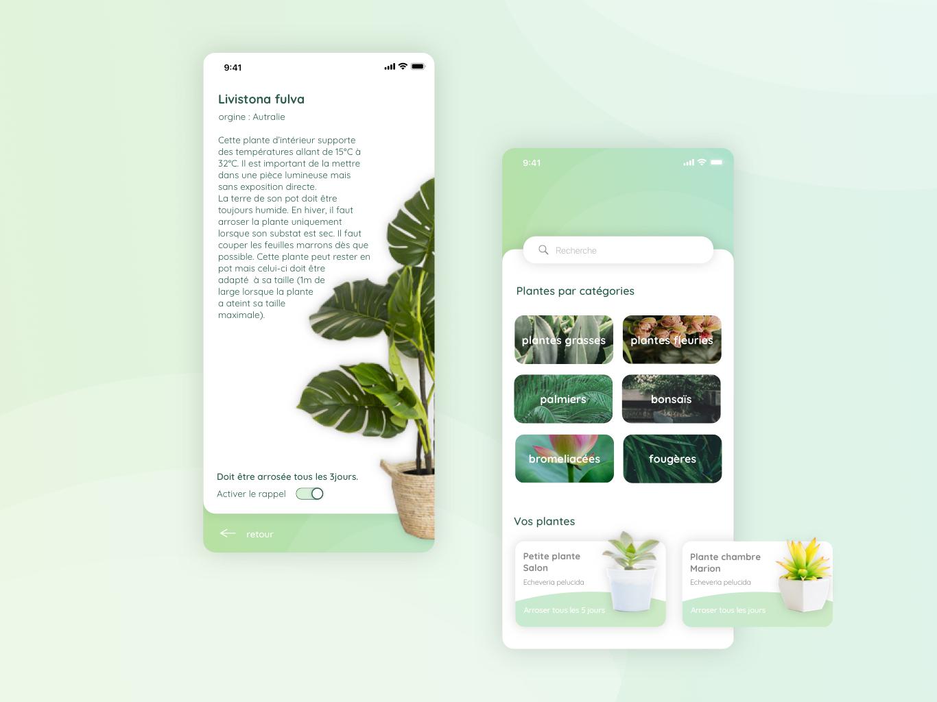 Daily UI - Thirsty Plant plants green app natural app app plant plant ui design application app design app