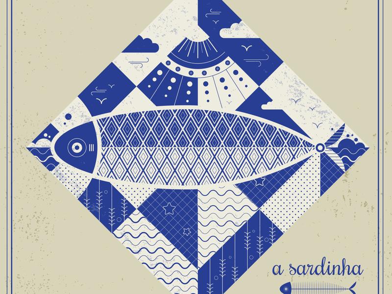 Sardines & Tiles azulejo sardinha tiles sardines geometric art geometric vector vector art adobe illustrator illustration
