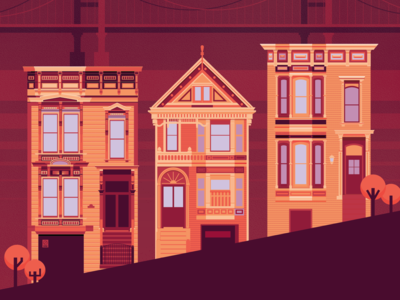 San Francisco poster houses adobe illustrator illustration vector san fran