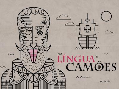 Na língua de Camões line art portugal camoes vector art vector illustration adobe illustrator
