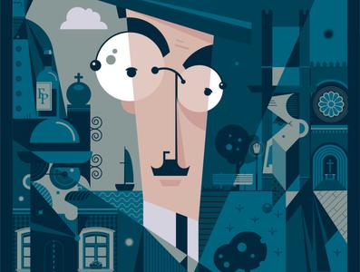 Pessoa to the power of his multiple heteronyms poster vector art vector adobe illustrator illustration
