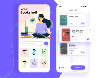 Your Bookshelf creative designer book reading app iphone android ios uidesign socialmedia ui ux web appdesign marketing digitalmarketing website design webdesign app