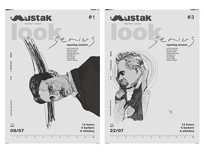 Mustak - barber salon poster art poster drawing typography type logo lettering illustrator illustration identity design branding