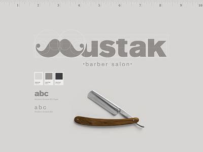 Mustak - barber salon drawing vector lettering typography type logo illustrator illustration identity design branding