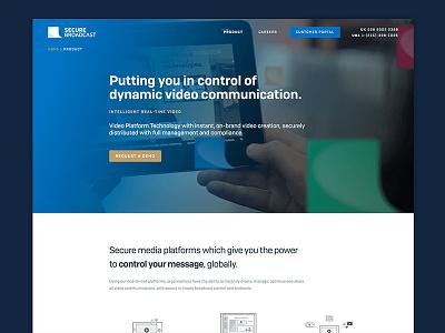 Secure Broadcast Website blue video website