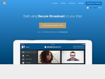 Secure Broadcast Customer Portal ipad ui ux download blue website