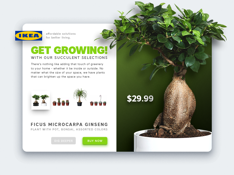 IKEA Get Growing! shadow diffuse minimal illustration ui mobile vector design flat
