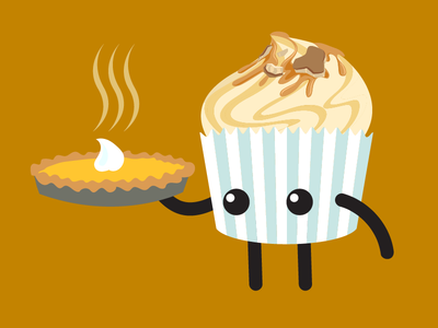 Easy As Pie character design graphic vector cute illustration thanksgiving pie cupcake