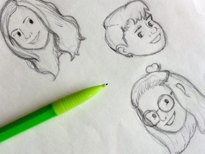 Familiar Faces sketchbook thumbnail process cartoon portrait sketch sketches