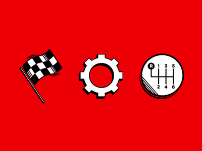 A&A Transmission Icons web vector illustrator racing car illustration iconography icons