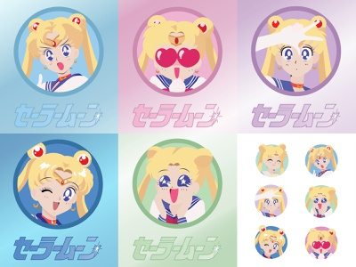 Sailor Moon Expression Set cute anime art sailor moon anime vector vector illustration vector art illustration flat  design adobe illustrator