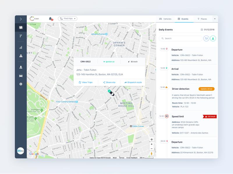 Fleet Management System location layout web vehicles dashboard ui map