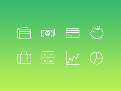 Simplicicons - Finance Icons wallet cash money credit card piggy bank suitcase calculator graph line pie