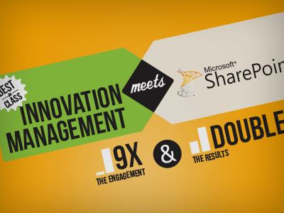Innovation Management meets Microsoft SharePoint infographic spigit microsoft sharepoint chart graphs bargraph ampersand venn diagram typography type illustration innovation