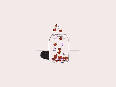 Spread love 🥰 red digital artist design digital art doodle art doodle drawing love art artist vector art illustrator vector illustration illustration jar vector hearts love vector love jar