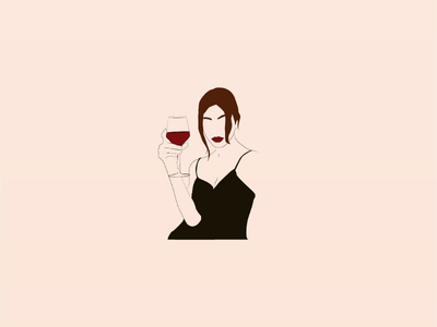 🍷 wine woman art lebanon graphicdesign vectorart vector illustrator drawing artist design illustration minimal lineart abstract doodleart doodle digitalart