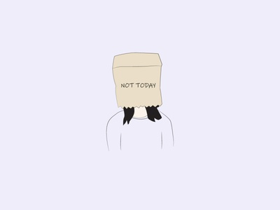 Not Today not in the mood not today paper bag hiding digital art graphic design minimal art abstract lineart vectorart minimal digitalart doodleart doodle vector artist illustrator illustration drawing