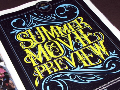 Summer Movie Preview illustration typography summer magazine movie season entertainment may june july august