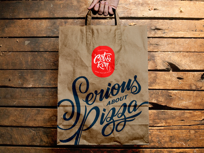 C&R handmade traditionality wood paperbag pizza food typography script lettering