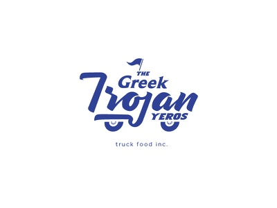 Greek Trojan Yeros company identity design client truck marca identidad logo branding food