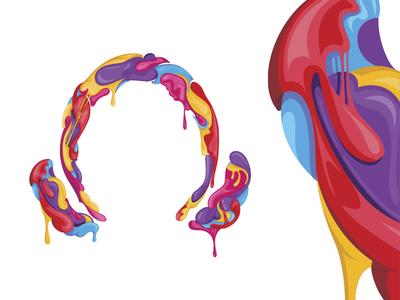 Headphones illustration summer malta lilac colors party sweet bubble gum music