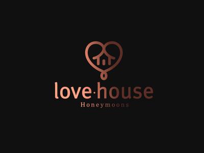 Love House lowercase sans brand logo mark icon gold fade house hearth love