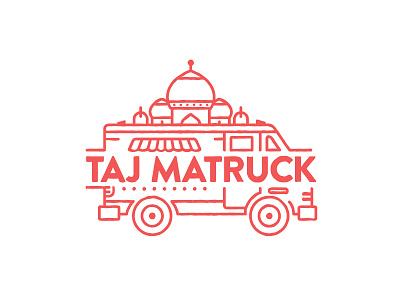 TAJ MATRUCK stroke lining sans thin logo taj mahal melbourne asian indian truck food street