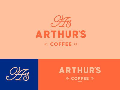 Arthur's Coffee Logo script sans monogram modern minimal logo branding