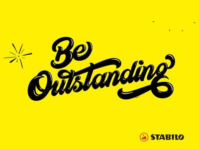 Be Outstanding belike creative bold australia lettering advetising stabilo markers
